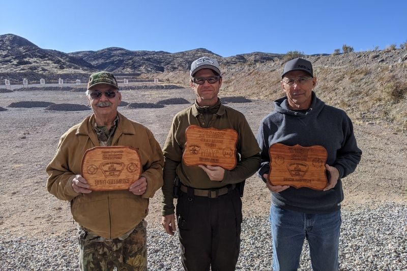 Jim, Mac, and Jack holding their awards at the January 2020 Thrifty Benchrest Match